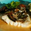 Ugnspocherad fisk med portabello och hummersås