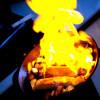 Vodkaflamberad lax och haullomi med friterad jordärtskocksrisotto